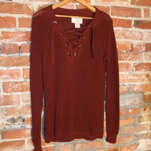 Anthropologie Ruby Moon Lace-Up Knit Pullover